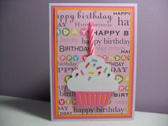 birthday cards with candles handmade | Handmade Birthday Card - Cupcake Card with Real Candle - Pink/Orange