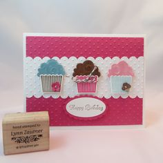 Create a Cupcake from StampinUp. I also used the Cupcake Builder punch. It's great when you have the stamp set and punch to coordinate.