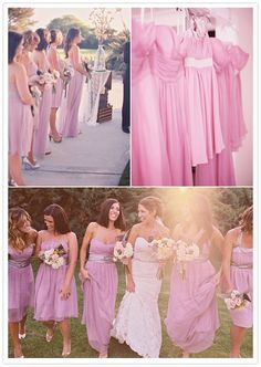 Just yesterday, my friend Katherine told me about a great idea for choosing bridesmaid dresses: pick the company, color, & fabric, and let the bridesmaids pick their own dress within those guidelines.  Seems like a win-win for bridesmaids & bride, and creates an awesome, more interesting look!