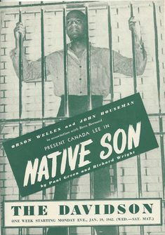 """Theatre Programme for the Premiere Milwaukee Production of the Paul Green / Richard Wright play """"Native Son,"""" which performed from January 19 thru 24, 1942 at the Davidson Theatre (demolished in 1954, this theatre was located at 625 North 3rd Street Canada Lee and Stephen Roberts starred in the production."""