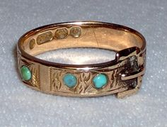 Vintage Victorian 9k rose gold buckle ring with turquoise  - So pretty!