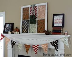 Super easy no-sew DIY bunting tutorial. Perfect for your Fall Mantel!!
