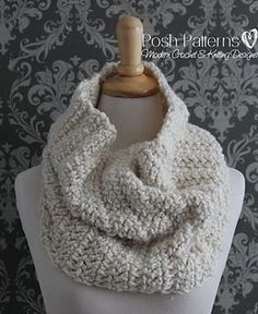 Crochet Pattern -- an elegant cowl that features a pretty, textured stitch design. By Posh Patterns.