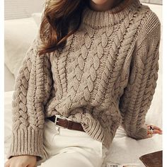 23 Cheap Cozy Chunky Oversized Sweater Outfit Ideas for Fall - Style Spacez Source by pammiesblue sweater outfit Chunky Oversized Sweater, Oversized Sweater Outfit, Sweater Outfits, Casual Outfits, Cute Outfits, Moda Casual, Sweater Making, Cable Knit Sweaters, Women's Sweaters