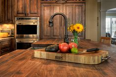 Texas Treasure -love the wood counter tops! Slate Kitchen, Kitchen And Bath, Kitchen Craft, Storage Cabinets, Kitchen Cabinets, Floor Plan Layout, Wood Countertops, Modern Traditional, Butcher Block Cutting Board