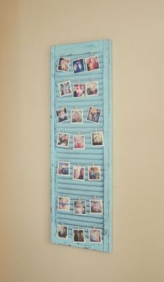 Super cute idea for a picture display on a distressed window shutter! Super cute idea for a picture display on a distressed window shutter! Cadre Photo Polaroid, Polaroid Display, Polaroid Pictures Display, Polaroid Wall, Hang Pictures, Hang Photos, Bedroom Pictures, Old Shutters, Window Shutters