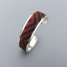Origins: Raven's Tail Cuff- Red and Black Chevron Sterling Silver, Micro-Mosaic, $600