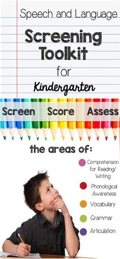 A must-have for any speech language pathologist performing kindergarten screenings! Screen, Score and Assess!