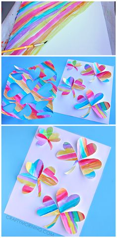 Make fun watercolor rainbow 3 leaf clovers for a st patricks day craft! It's a great art project for kids to make. St Patricks Day Crafts For Kids, St Patrick's Day Crafts, Holiday Crafts, Fun Crafts, Paper Crafts, Projects For Kids, Diy For Kids, Saint Patrick, Spring Crafts
