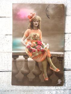 Antique french postcard  Woman art deco dress, pattern, big ribbon, curly hair, balustrade, hand tinted, 1920 by LizKnijnenburg #bmecountdown