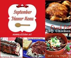 Mommy's Kitchen - Home Cooking & Family Friendly Recipes: September Menu - Menu Plan Monthly #menu #dinner #menuplanning