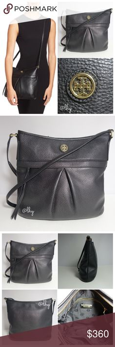 """TORY BURCH LEATHER SWINGPACK CROSSBODY Authentic like new Tory Burch Swingpack in pebbles black leather. Approx 10""""W X 10""""H X 2""""D. Adjustable strap drop 22""""-24.5"""". Zip top closure. Pleated detail on front with gold logo. Exterior front zip pocket with leather tassel pull. Interior zip and slip pockets. Fully lined. Dustbag not included ❌❌NO TRADES NO PP NO EXCEPTIONS❌❌ Tory Burch Bags Crossbody Bags"""