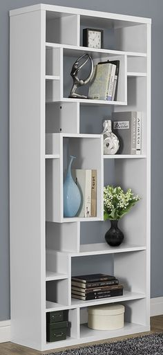 Hollow-Core 12''W x 72''H Bookcase with 14 Asymmetrical Shelves - White, I-7071 by Monarch Specialties | BizChair.com