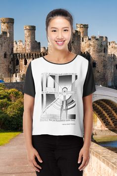 """Chiffon Top. """"If you have built castles in the air your work need not be lost; that is where they should be. Now put foundations under them."""" Henry David Thoreau. Adapted from a graphic image by Dan S. #redbubble #findyourthing #creative #artist #artistic #computergraphics #shirts #chiffontop #womenstops #womensshirts Quirky T Shirts, Cool T Shirts, Kinds Of People, Shirt Shop, Etsy Handmade, Castles, Chiffon Tops, Collaboration, Dan"""