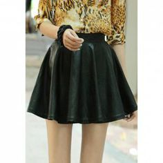 $13.07 Vintage Style Solid Color PU Leather Skirt For Women