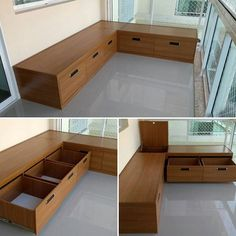 Banco para varanda com gavetas! A excelente vantagem … Another amazing project! Balcony bench with drawers! The great advantage of making custom furniture is this. Balcony Bench, Small Balcony Decor, Balcony Furniture, Home Decor Furniture, Furniture Design, Balcony Ideas, Apartment Balcony Decorating, Apartment Balconies, Bench With Drawers