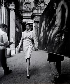 Photograph by William Klein | Simone + Painting + Coffee | Rome | Vogue 1960