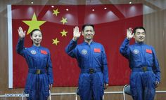Luanching tomorrow 11 June 2013: The astronauts of Shenzhou 10 mission, from left to right: Wang Yaping, Nie Haisheng, and Zhang Xiaoguang. Crew includes the second Chinese female astronaut!