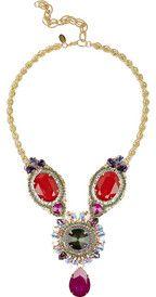 Erickson BeamonFoxy 22-karat gold-plated oversized Swarovski crystal necklace