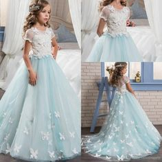 Give your little girl the 2017 short sleeves pretty lace girls pageant dresses for teens with train graduation kid glitz little flower girl prom dresses in officesupply as a good gift and have her shine like a bright star with teen dresses,clothes for girlsand dress for girls.