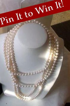 "Pin It to Win It Party - Inspired Grace Weddings giving away this 60"" pearl necklace. Deadline August 3rd."