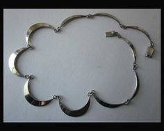 CURVY--Beautifully Made Mexican Modernist Sterling Silver Necklace,Hefty Box Clasp,Vintage Jewelry,Women