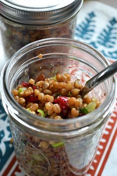 Wheat Berry Salad in Mason Jar