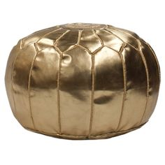 Brimming with cosmopolitan appeal, this handcrafted faux leather pouf showcases embroidered Moroccan-inspired detailing and a gold-hued finish.
