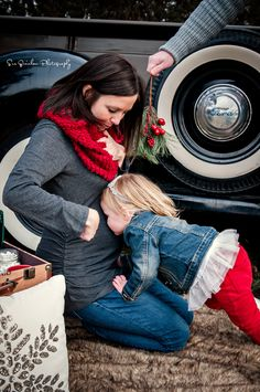 Outdoor Holiday Photo Shoot, Christmas Mini Session, vintage truck Christmas, Christmas Maternity, Mistletoe, Baby/Big Sister Kissing Belly www.SueQuinlanPhotography.com  www.Facebook.com/SueQuinlanPhotography www.instagram.com/suequinlanphotography