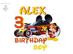 Mickey And The Roadster Racer Birthday, Personalize Birthday Clipart, Mickey Roadster Racer Clipart, Printable, Mickey Iron-on Transfer by TheStudioZero on Etsy 28th Birthday, Mickey Birthday, Mickey Party, Boy Birthday, Disney Clipart, Birthday Clipart, Minnie, Disney Mickey, Mickey Mouse Clubhouse