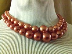 VIntage '50's Pink Champagne Rose Colored Pearl (Costume) Choker.  Oh my!
