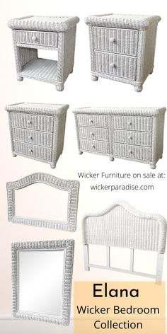 Wicker bedroom furniture - Elana collection. This collection gives bedroom decor ideas for a master bedroom, guest room, little girls room. With wicker dressers, nightstands, mirrors and wicker headboards, its a cool bedroom idea. Available at wickerparadise.com Wicker Bedroom Furniture, Rattan Headboard, Wicker Dresser, Furniture Sale, Bedroom Decor, White Wicker, Opportunity, Exotic, Bedrooms