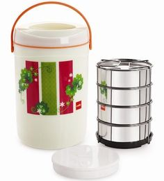 Cello Spice Insulated 4 Container Lunch Box. Cello has made sure that when we leave the house, we don't have to leave the comforts of home behind.
