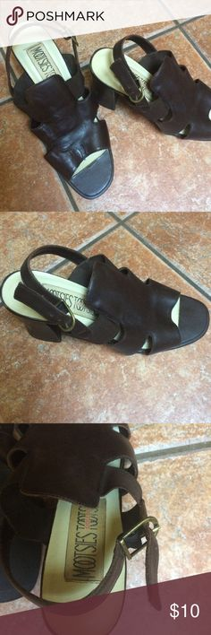 Sandals Brown sandals with medium heel in good shape. Back adjustable strap. Mootsies Tootsies Shoes Sandals