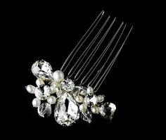 White Couture Silver Clear Rhinestone & White Pearl Clustered Bridal Hair Comb 8398