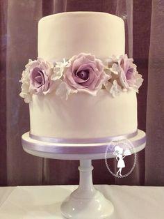 Purple wedding cake. Lilac wedding cake, lilac sugar roses, vintage two tier wedding cake, sugar flowers