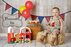1st birthday Farm theme shortalls Boys birthday by personalityink