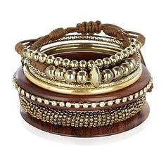 Wood and Bronze stacked bracelets