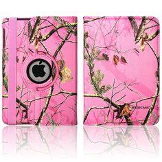 iPad Mini 2 Retina Pink Camo Real Oak Mossy 360 rotating SMART CASE COVER STAND