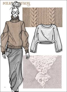 Close-Up Stylebook Knit Vol. 4 A/W Close-Up Stylebook Knit Vol. 4 A/W Record of Knitting String rotating, weaving and stitching jobs such as BC. Illustration Mode, Fashion Illustration Sketches, Fashion Sketchbook, Fashion Design Sketches, Fashion Design Template, Modelista, Fashion Forecasting, Streetwear, Knitwear Fashion