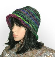 multi chunky cloche #crochet beanie be Renate Kirkpatrick