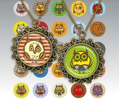 Cartoon Cute Little Owls Digital Collage Sheet 30mm Circles images for glass tiles resin pendants cabochon button JPG 174