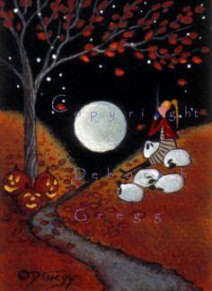 Fall Leaves By Moonlight an aceo PRINT Halloween Autumn Sheep Shepherdess Cocoa Moon by Deborah Gregg on Etsy, $8.00