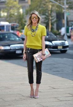 Leather leggings, lime coloured mohair sweater and playful clutch.