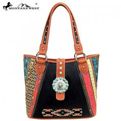 Montana West Western Aztec Spiritual Collection Hobo Handbag with Turquoise Stone Concho