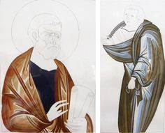 details - exercises: clothes, Byzantine Greek Macedonian School of Emmanouil Panselinos, original mural painting in Mount Athos, Greece
