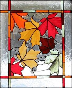 Image result for stained glass door autumn leaves