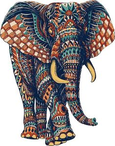 Ornate Elephant (Color Version) Mini Art Print by bioworkz Elephant Meaning, Elephant Love, Indian Elephant Art, Elephant Design, Elephant Poster, Colorful Elephant, Baby Elephants, Elephant Ears, Elephant Print