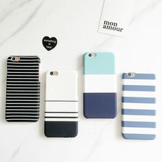 Black And White Stripes Case Blue  Clear  Apple by Kakakakashop