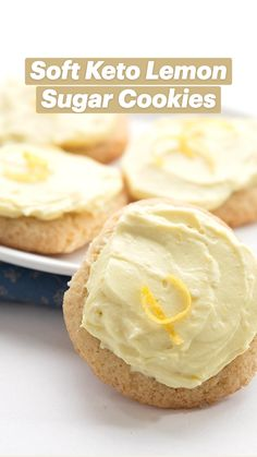 Low Carb Sweets, Low Carb Desserts, Low Carb Recipes, Diabetic Sweets, Diabetic Recipes, Healthy Desserts, Healthy Recipes, Lemon Sugar Cookies, Sugar Cookie Frosting
